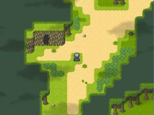 森の途中の洞窟