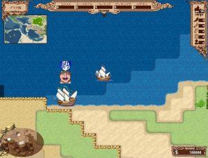逃げる商船を追う海上